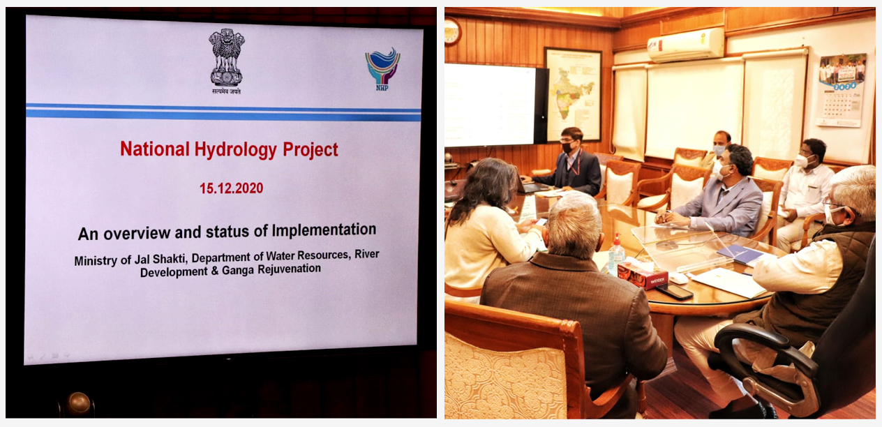 Review meeting of National Hydrology Project by the Hon'ble Minister of Jal Shakti, Sh. Gajendra Singh Shekhawat ji. The Meeting is also attended by Additional Secretary Ma'am and Joint Secretary (A, IC & GW), DoWR, RD & GR, Apart from SJCs and DTL