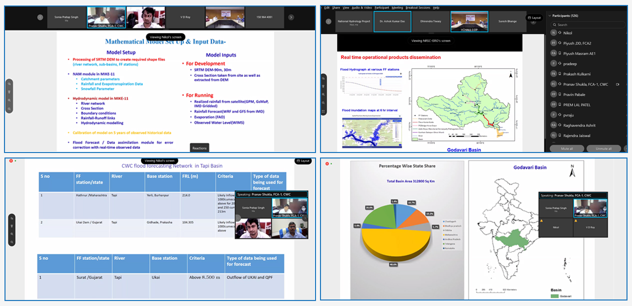 NPMU organized A Consultative Workshop under National Hydrology Project in a virtual mode with Stakeholders on 'Real-Time Operational Spatial Flood Early Warning in Godavari and Tapi Basins'